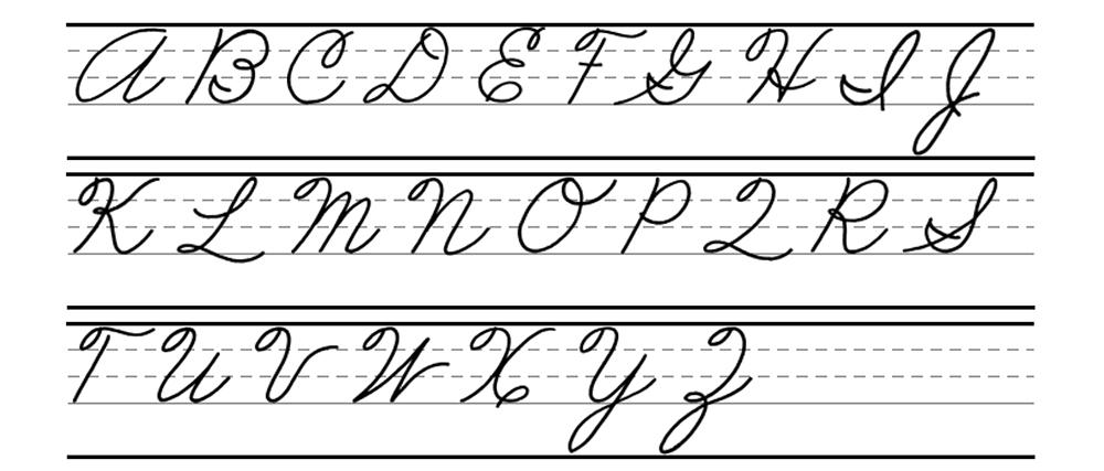 Cursive capitals alphabet