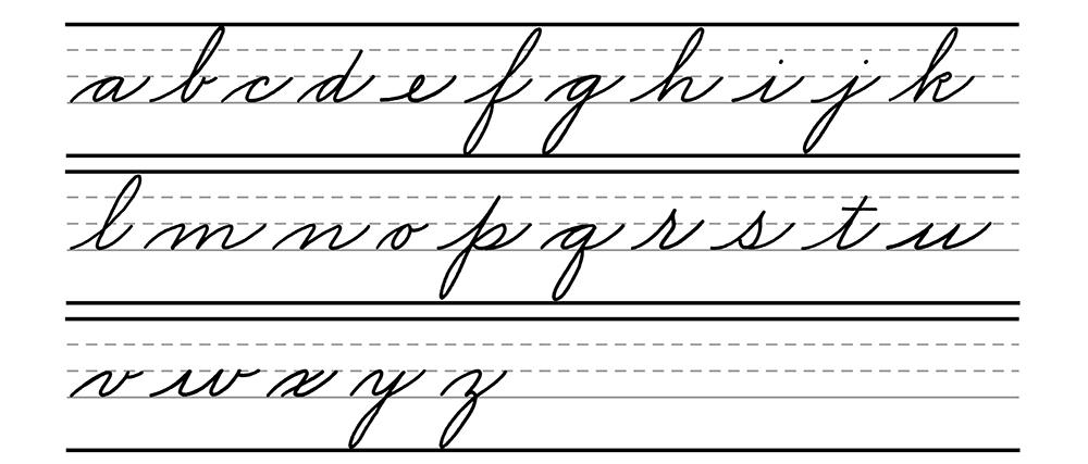Cursive lowercase alphabet